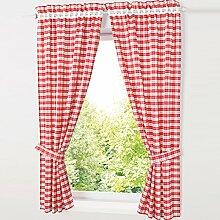 HongYa 4-TLG. Set Karo-Muster Vorhangschals Küche
