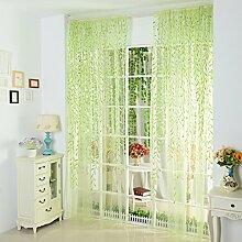 HongYa Gardinen Grün Weide Floral Voile