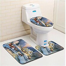 HONGYUANZHANG helles Landhaus WC Fußmatte WC Sitz