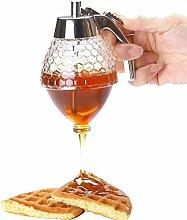Honig Spender, Acryl Sirup Dispenser Behälter Squeeze Flasche Honig Glas Saft Spender Honig Biene Tropfenfänger Flasche