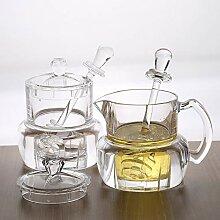 Honigglas aus Acryl, Honigtopf mit Deckel,