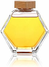 Honigglas aus Glas mit Holzlöffel, sechseckig,