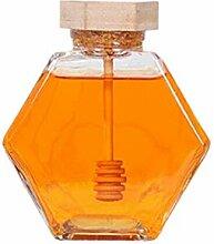 Honigglas aus Glas, sechseckig, Honigtopf mit