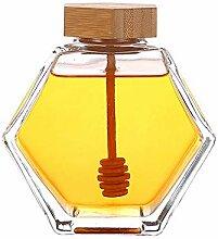Honigglas mit Holzlöffel und Korkdeckel, leer,