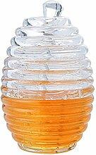 Honigglas mit Schöpflöffel, Acryl Honigstab und