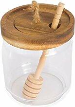 Honigglas Topf Glashalter Spender mit Holzlöffel