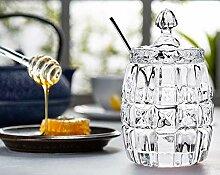 Honigtopf mit Deckel, elegantes Glasgefäß mit