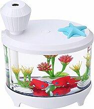 HOOCOOL 460ML Fisch Tank Licht LED Fischbehälter Aquarium Befeuchter USB Ultraschall Mute Befeuchter Portable Creative Lighthouse Luftbefeuchter Toll Für Schlafzimmer Studium Büro Wohnzimmer Bad Yoga Zimmer Etc. (145 ×125 ×86, weiß)