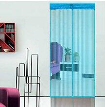 Hoomall Fliegengitter Tür Moskitonetz Tür Insektenschutz Magnet Vorhang Fliegenvorhang für Balkontür Wohnzimmer 90*210cm Blau