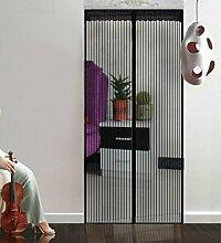 Hoomall Fliegengitter Tür Moskitonetz Tür Insektenschutz Magnet Vorhang Fliegenvorhang für Balkontür Wohnzimmer 90*210cm Schwarz