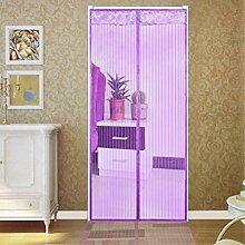 Hoomall Fliegengitter Tür Moskitonetz Tür Insektenschutz Magnet Vorhang Fliegenvorhang für Balkontür Wohnzimmer 90*210cm Lila