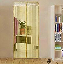 Hoomall Fliegengitter Tür Moskitonetz Tür Insektenschutz Magnet Vorhang Fliegenvorhang für Balkontür Wohnzimmer 90*210cm Cremefarbig