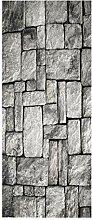 HOPAX Graue Backsteinmauer Türaufkleber