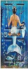 HOPAX Meerjungfrau Tür Aufkleber Tür Wandplakate