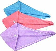 HOPESHINE Mikrofaser groß Haarpunzel Turban Haartrockentuch Handtuch Kopftuch Haartrockentuch Handtücher (Rot+lila+blau 3er-Pack)