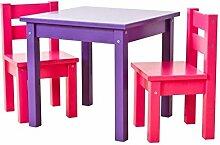 Hoppekids bunte Kindersitzgruppe MADS: Tisch lila, Stühle pink