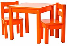 Hoppekids Kindersitzgruppe mit 1 Kindertisch und 2 Kinderstühle, teilmassiv sehr stabil, viele Farben, Holz, orange, 55 x 50 x 47 cm