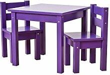 Hoppekids Kindersitzgruppe mit 1 Kindertisch und 2 Kinderstühle, teilmassiv, sehr stabil, viele Farben, Holz, lila, 55 x 50 x 47 cm