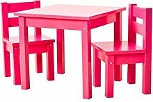 Hoppekids Kindersitzgruppe mit 1 Kindertisch und 2 Kinderstühle, teilmassiv, sehr stabil, viele Farben, Holz, rosa, 55 x 50 x 47 cm