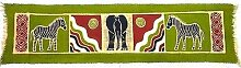 Horizontal grün Zebra und Elefant Batik–Tonga Textilien