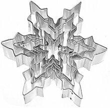 Hosaire 1 Set Bakeware Schimmel Keksausstecher Schneeflocke Kreative DIY Eiskristall 5-tlg Weißblech Backform Mold
