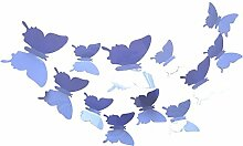 Hosaire 12 Stücke Aufkleber 3D PVC Schmetterling-Wandsticker DIY Wand-Dekoration Babyroom Dekoration(Blau)
