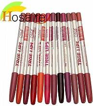 Hosaire 12x Damen Make Up Lipliner Bleistift Werkzeuge Frauen Makeup Wasserdicht Lipliner