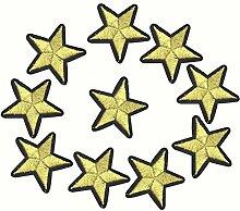 Hosaire 1x Gestickter Patch Gold Pentagramm