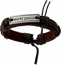 Hosaire 1x Leder Herren Armband Mode World Peace Muster Damen Armbänder Männer Schmuck Leather Bracelet Zubehör