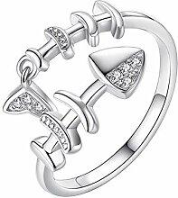 Hosaire 1x Mode Damen Ring Fischknochen Offener