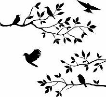Hosaire 1x Removable Wandsticker Black Bird Tree