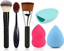 Hosaire 3 pcs Beauty Makeup Brush + 2 pcs Make-up Schwamm Puff + Make Up Pinsel Reinigungs Werkzeuge