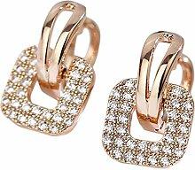 Hosaire Frauen Ohrringe Elegant Form Glänzend quadratisch Strass Clip Ohrringen Schmuck-Geschenk