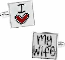 "Hosaire Herren Manschettenknöpfe Cufflinks Kreative Alphabet ""I Love My Wife"" Männer Elegant Hochzeit Manschettenknopf Hemd Manschettenknöpfe"