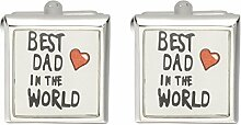 Hosaire Herren Manschettenknöpfe Cufflinks Mode Alphabet Best Dad in the World Männer Hochzeit Manschettenknopf/Manschettenknöpfe für Vater-Tagesgeschenk