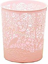 Hosaire Mülleimer Ashcan Mode Hollow Out Blume Schreibtisch Ashbin Behälter Haus Dekoration Trash can,Rosa