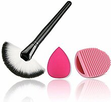 Hosaire Sektor Form Makeup Brush + Make-up puff + Make Up Pinsel Reinigungs Werkzeuge für Beauty Gesichtspinsel