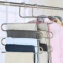 Hosenbügel Platzsparend Edelstahl kleiderbügel für 5 Hosen Mehrfach-Hosenbügel (4 Stück)