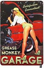 HOSNYE Garage Pin Up Girl Blechschild Vintage Auto