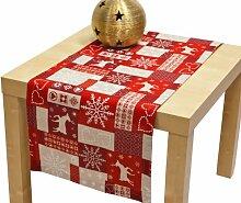 Hossner Weihnachten Läufer ca. 50x150 cm mit Saumkante und Kuvertecken, creme rot, Mischgewebe, 9835-1