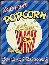 Hot Buttered Popcorn Retro, Old Vintage Werbung Zeichen für Küche, Bar, Lebensmittel, Cafe, Kino oder Coffee Shop aus Metall/Stahl Wandschild, stahl, 30 x 40 cm