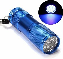Hot Mini Aluminium tragbarer UV-Taschenlampe Violett Licht 9LED UV Taschenlampe Licht Lampe Taschenlampe