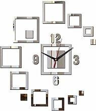 Hot New Arrival Wanduhr Uhren Home Dekoration Acryl DIY Europa Design Aufkleber Aufkleber Spiegel Quarz Nadel schwarz
