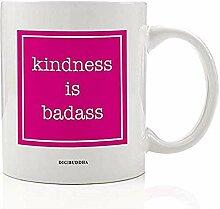 Hot Pink KINDNIS BADASS Kaffeetasse Geschenkidee