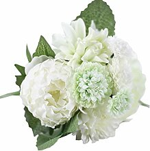 Hot Sale. Künstliche Seide Pfingstrose, canserin DIY Fake Blume für Brautschmuck Hortensie Garten Decor (weiß)