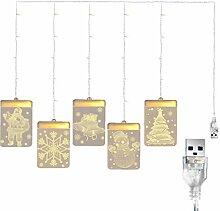 Hotaden Weihnachten hängende Lichter Vorhang