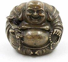 Hotai Buddha Figur Bronze (7,5cm) Runder Happy