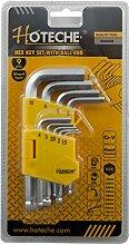 Hoteche 260408 Inbusschlüssel-Set, verchromt, kurz