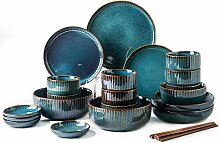 Hoteck 28 teilig Set Tafelservice aus Keramik,