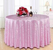 Hotel-runde Tischdecke-Tuch-europäische Art-Restaurant-Bankett-Tischdecke,Pink-diameter180cm
